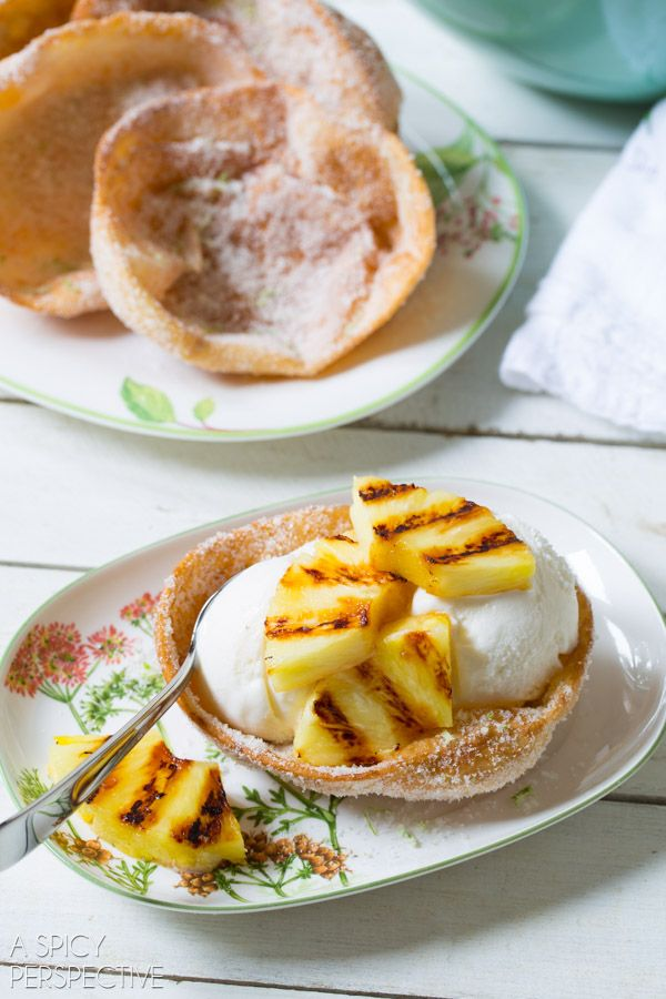 Sugar Fried Ice Cream Bowls with Coconut Ice Cream and Grilled Pineapple #fried #icecream from @spicyperspectiv