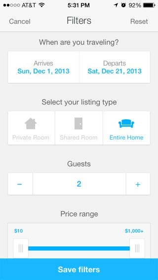 Airbnb (iphone) filters page (from http://www.mobile-patterns.com/)