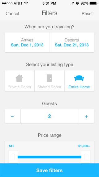 Airbnb iPhone filter screenshot
