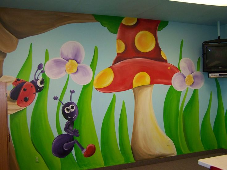 Classroom Decoration Wall Painting ~ Best preschool garden mural images on pinterest