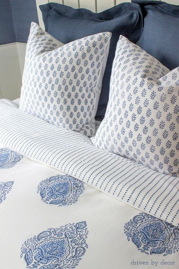 The Nisha Duvet Cover features a traditional, large-scale paisley design in indigo and cerulean blue on one side, and reverses to an indigo dotted stripe. It is hand block printed by artisans in India. This duvet cover is made up of two layers of cotton voile on each side, making it truly luxurious and soft to the touch.  100% cotton. Button enclosure on bottom. Price is for cover only. Insert not included. Machine wash cold on delicate cycle, tumble dry low.