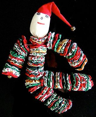"handmade craft YO YO DOLL CLOWN 14"" Christmas Fabric BELLS hand sewn"