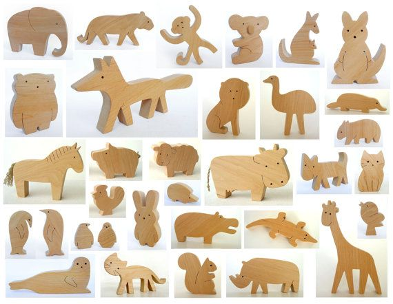 ANY 4 animals - Organic wooden toy - animals from all over the world - wooden animals