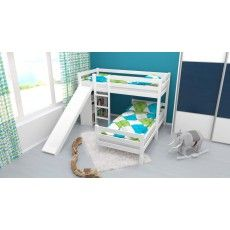 L-Shaped Bunk bed Phillip, solid beech wood, with slide and shelf, white painted, incl. slatted frame - 90 x 200 cm