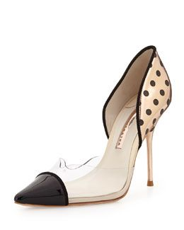 X2DMG Sophia Webster Jessica Dotted Mixed-Media Pump