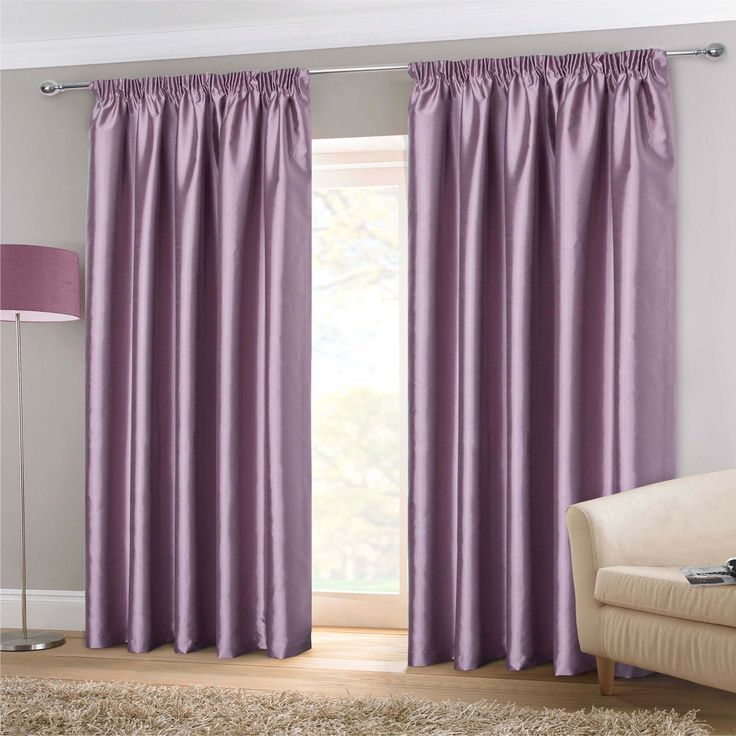 Faux Silk Pencil Pleat Curtains- Purple