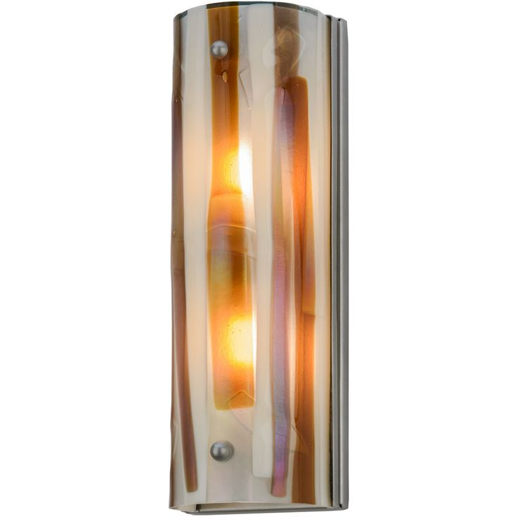 """5.5 Inch W Metro Fusion Marina Wall Sconce. 5.5 Inch W Metro Fusion Marina Wall SconceWet rated fused glass wall fixture for both exteriorsand interiors. Marina features earth tones with aunique abstract design in """"""""Bas Relief"""""""" that employscarved art glass sculpting for a multidimensionaleffect so the sconce can be viewed clearly from manyangles. Striking undertones in Amber, Beige, Smoke andClear Iridescent complemented by Nickel finished hardware. Accent hallways or make a statement in..."""