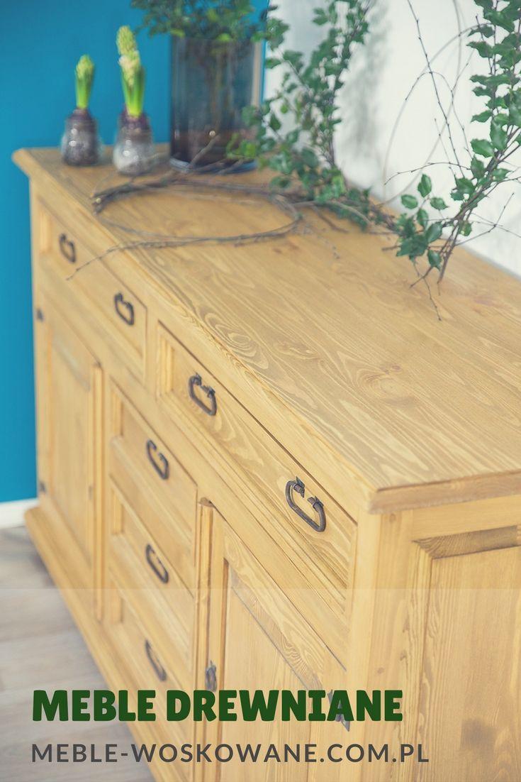 Meble drewniane, komody, szafy, witryny woskowane z litego drewna sosnowego  rood-drew.pl