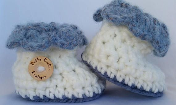 Handcrafted blue and white petal cuffed Baby Booties with