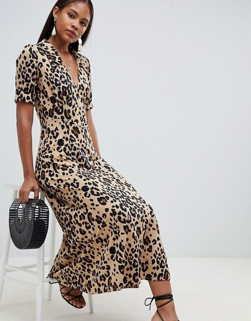 775c65e76d35 DESIGN Tall animal print midi tea dress in 2019 | Female Fashion ...
