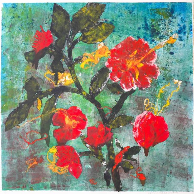 Tropic summar flowers Printmaking by Nasrin Taghizadeh
