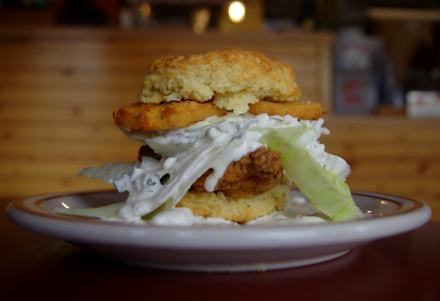 """""""The Wedgie"""" @ Pine State Biscuits, Portland [fried chicken, fried green tomato, a wedge iceberg lettuce and blue cheese dressing]"""