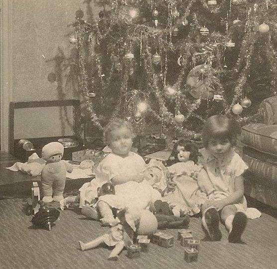 Christmas Morning Vintage Black and White by BallyDingRevue, $8.00