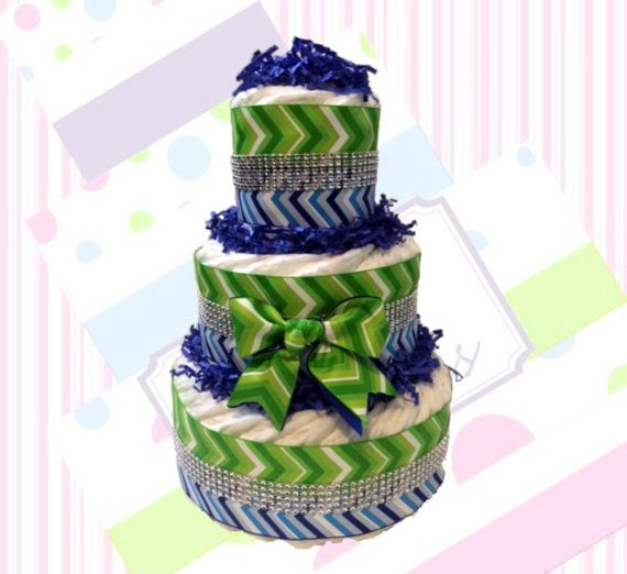 Blue & Green Chevron Diaper Cake for Boy by ChicBabyCakes on Etsy
