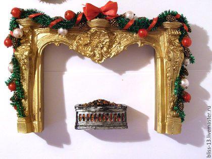 Купить Кукольная миниатюра Новогодний декор (4 предмета) - золотой, Новый Год, новый год 2016