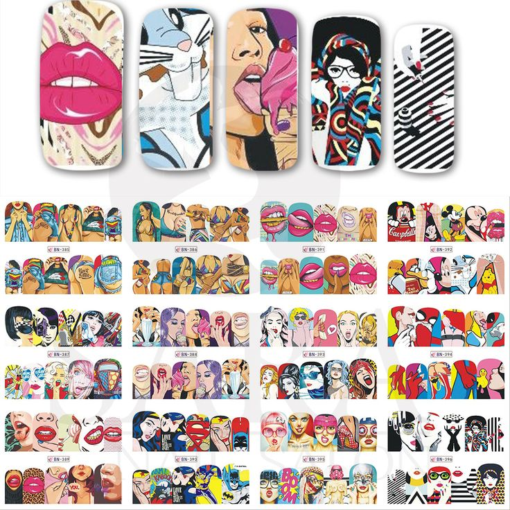 12 Designs/Set Cool Girl Red Lips Beauty Lady Water Transfer Tips Nail Art Beauty Manicure Designs Nail Sticker Decals BN385-396
