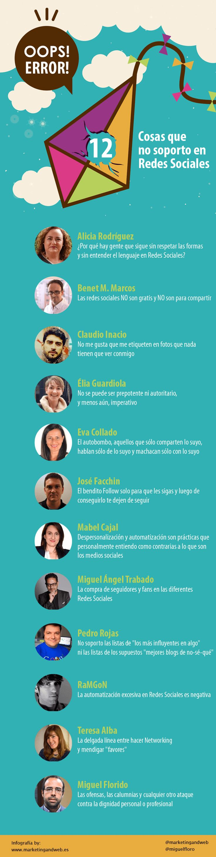10 Cosas que no soporto en Redes Sociales infografía  #redessociales #socialmedia #communitymanager #marketingonline #marketingdigital