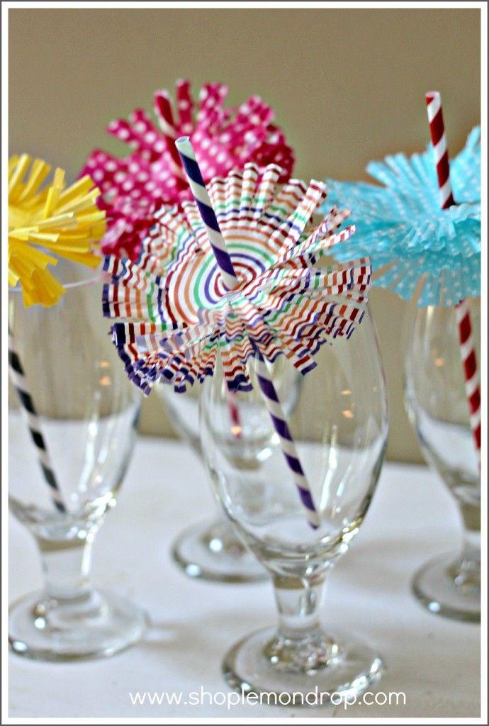 DIY Cupcake Liner Straw Flowers - shoplemondrop.com