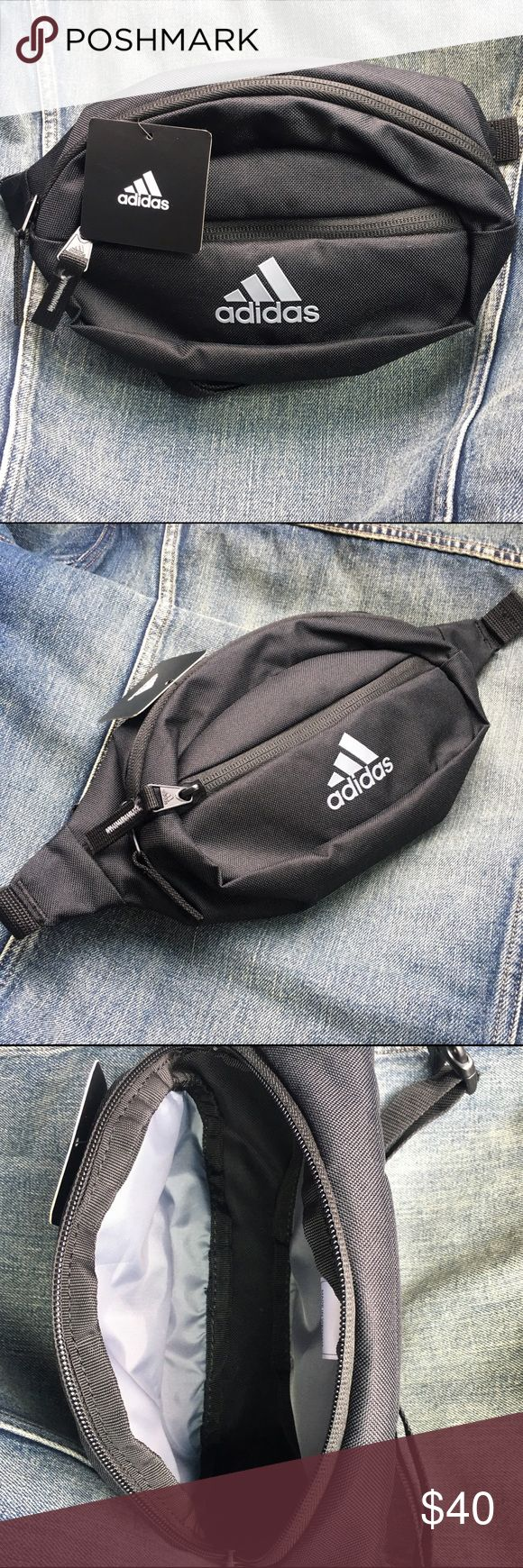 New Adidas fanny pack black waist pack adjustable All black canvas fanny pack by adidas. The gray 3 stripes logo is raised. Super cute. Adjustable waist band. I also have this in red/white/blue Us flag print. adidas Bags Travel Bags
