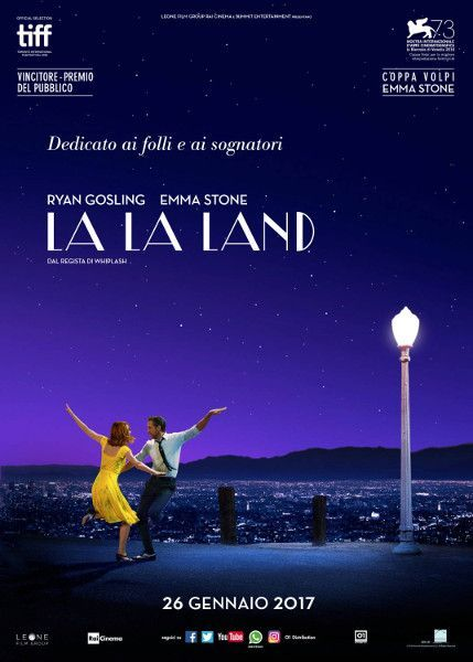 La La Land, una commedia musicale del 2016, diretta da Damien Chazelle, con Ryan Gosling e Emma Stone.