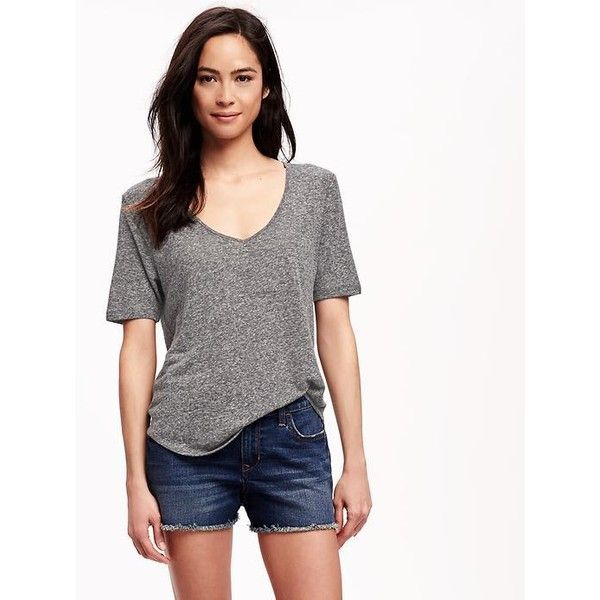 Old Navy Relaxed Hi Lo Linen Blend Tee For Women ($16) ❤ liked on Polyvore featuring tops, t-shirts, grey, petite, v neck tee, short sleeve v neck t shirt, short sleeve v-neck tee, v-neck tee and old navy tees