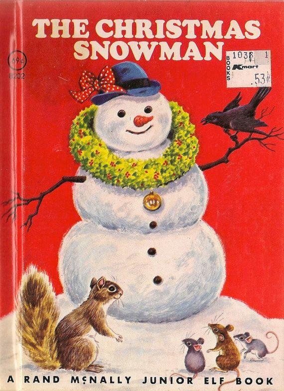 The Christmas Snowman a Rand McNally Junior Elf Book - Diane Sherman - Sharon Kane - 1977 - Vintage Book