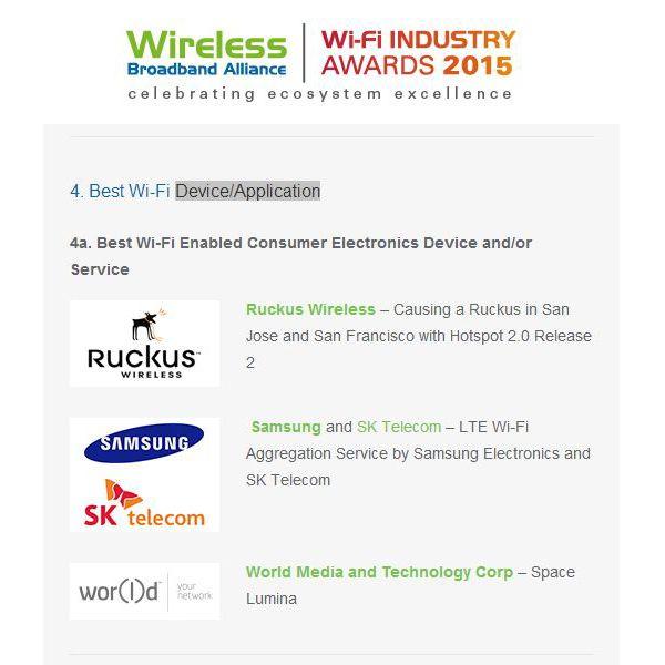 """#SpaceLumina Wireless Broadband Alliance'ın 2015 ödüllerinde """"En İyi Wi-Fi Cihaz / Uygulama"""" listesine girdi.  Wireless Broadband Alliance inserts Space Lumina in the top Wi-Fi devices in the world. #WorldGN #mCell5G #5G #WorldGNTurkey #WorldGNTürkiye #Technology #Teknoloji #Telekomünikasyon #GiyilebilirTeknoloji #WearableTechnology #SmartPhone #SmartPc #DoğrudanSatış #NetworkMarketing #DirectSelling #Entrepreneur #Entrepreneurship #Girişimcilik #işfırsatı #isfirsati #işarayanlar…"""