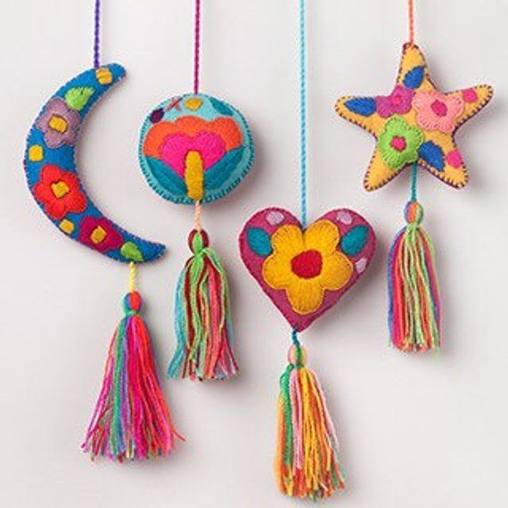 Mexican Heart Embroidered Felt Ornament Decoration with Tassels