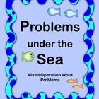 Math word problem set (32 sea-themed problems) plus open-ended Math project $