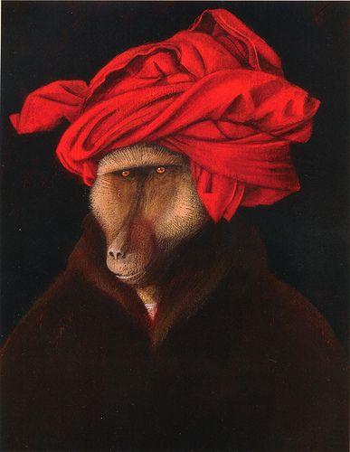 "Baboon in a Turban A zoological take on van Eyck from Svjetlan Junaković's ""Great book of animal portraits"""