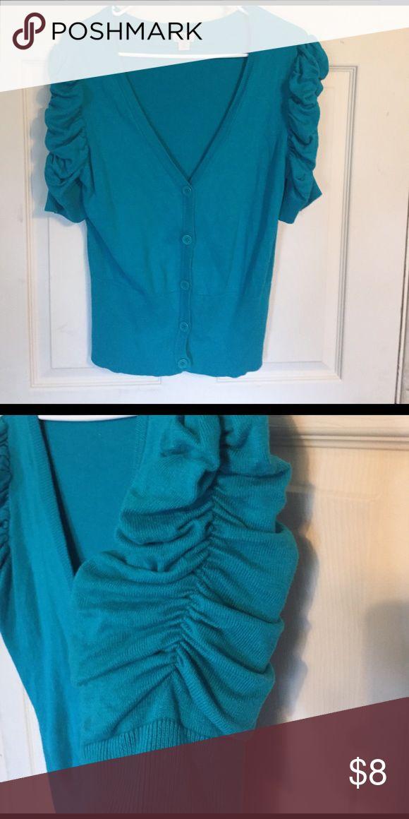 Beautiful turquoise cardigan sweater Beautiful turquoise cardigan sweater with fun sleeves. Worthington Sweaters Cardigans
