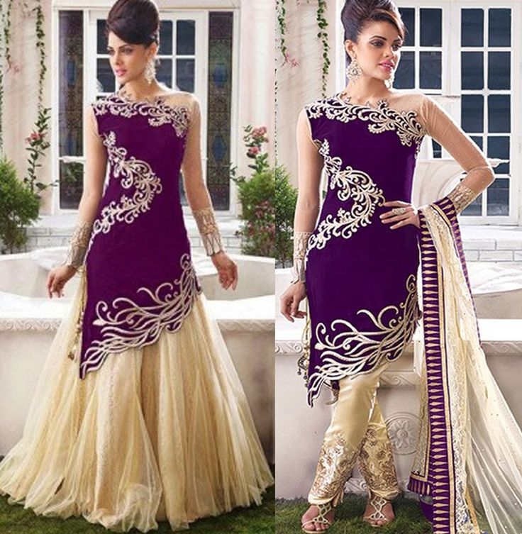 Exclusive Purple Emboridered Designer Straight Suit|Straight Suits|Ethnic Wear