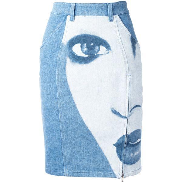 Jeremy Scott face print denim skirt ($599) ❤ liked on Polyvore featuring skirts, blue, jeremy scott, denim skirt, patterned skirts, blue denim skirt and blue skirt