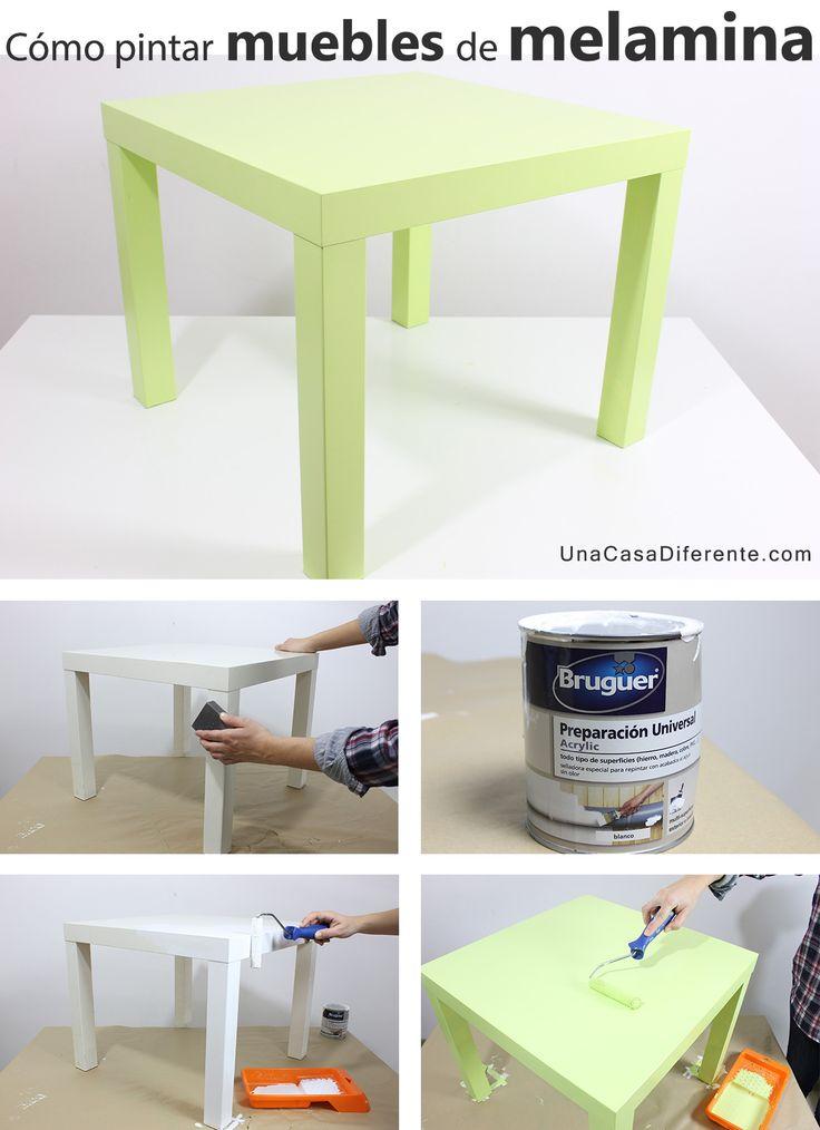 ¿Quieres pintar muebles de melamina y no te atreves o no sabes qué tipo de pintura usar? Si tus muebles de melamina (cocina, salón, dormitorio…) necesitan un cambio de aspecto, se pueden pintar aplicando una capa de preparación (imprimación) para que la pintura tenga mejor adherencia, ya que la melamina sin lijar ni tratarno es una buena superficie para aplicar pintura directamente. Cómo pintar muebles de melamina Ikea (antes y después): Esta era la mesa Lack de Ikea antes y después de ser…