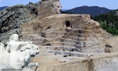 World's largest mountain carving in progress, located minutes from Mount Rushmore on Hwy 16/385. Witness work on the mountain. Enjoy Indian museums, art galleries, sculptor's log studio-home, antiques, Indian artists and performers, restaurant and gift shop. Nightly laser show in season. Open year-round.