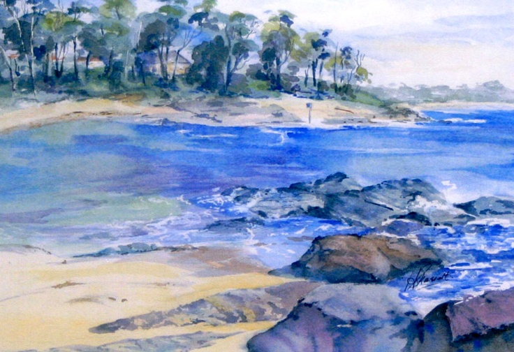 heather scarratt - blue mountains artist - the subject Huskisson - you can just make out husky pub on the headland...yet to be framed