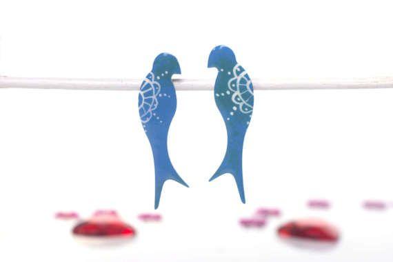 Swallow Earrings Stainless Steel Enamel Bird Cute by CinkyLinky