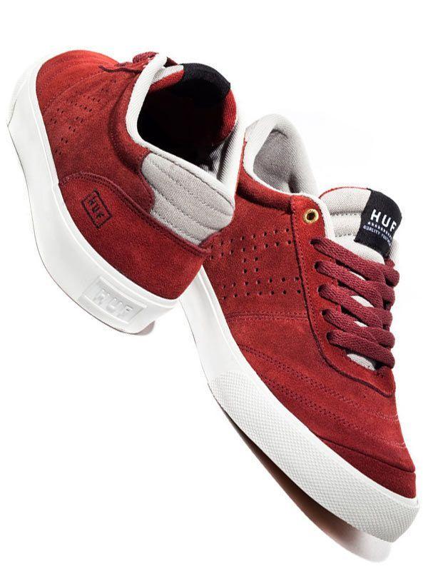 Huf skate shoes - Modèle Galaxy low HUF Footwear bordeaux et grise.