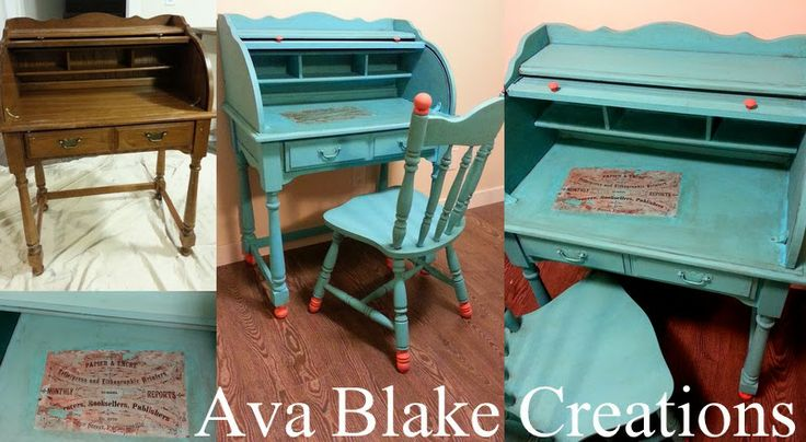 Ava Blake Creations: Rollin With The Tide Aqua Roll Top Desk
