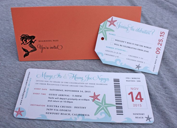 coral turquoise mint gray starfish waves mermaid cruise ticket wedding invitations