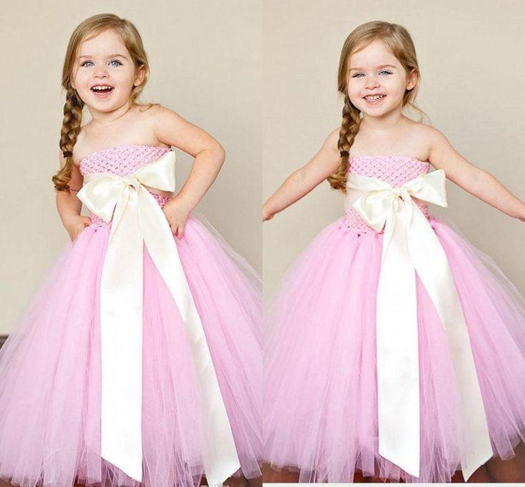86 best flower girl dress images on pinterest dress for wedding cute little girl pink strapless party dresses 2016 tulle floor length flower girl dresses for wedding mightylinksfo