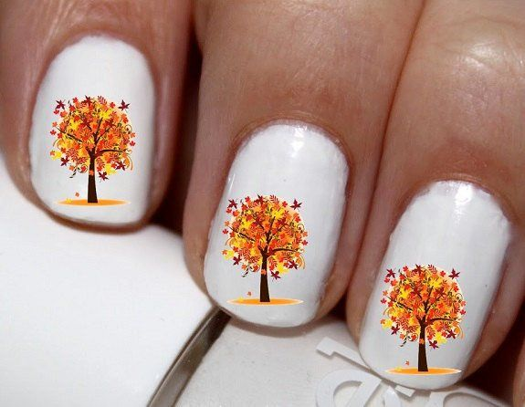 20 pc AutumnTree Autumn Leaves Harest Time Nail Art Nail Decals #cg345na