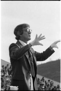 Ronald Socciarelli, Ohio University band director, conducts the Ohio University Marching 110, 1980 :: Ohio University Archives