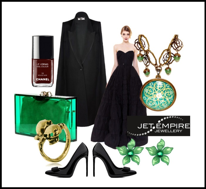 "My ""Green with Envy"" entry for the @Mystery Case and @Jet Empire competition!  Rochas Gown  Stella McCartney Cape  YSL Pumps  Charlotte Olympia Clutch  Accessories - Various"