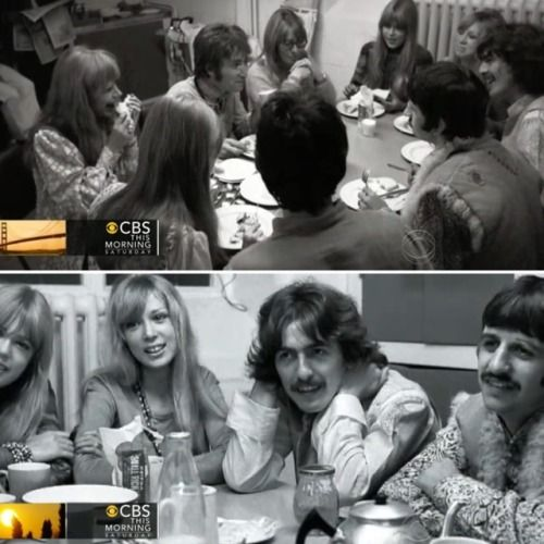 """thateventuality: """"Photos by Henry Grossman, in screen captures from CBS This Morning: George Harrison, Pattie Boyd, Jenny Boyd, Cynthia and John Lennon, Marianne Faithfull, Jane Asher, Paul McCartney, and Ringo Starr, Wales, 26 August 1967. """" """"So I'd..."""