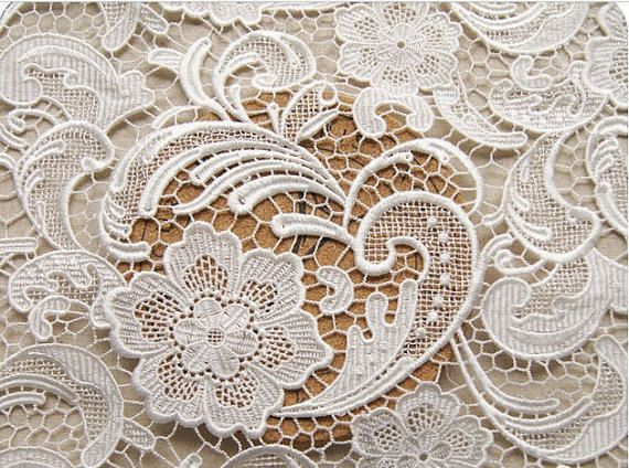 Off White Lace Fabric with retro Floral Pattern by WeddingbySophie, $35.00