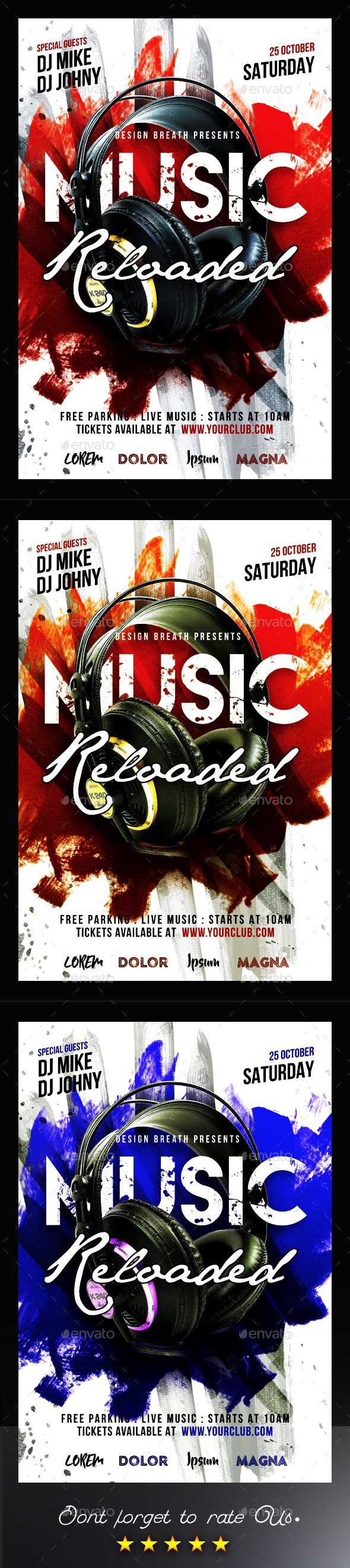 Music Reloaded Flyer — Photoshop PSD #art #house dj • Download ➝ https://graphicriver.net/item/music-reloaded-flyer/19688485?ref=pxcr
