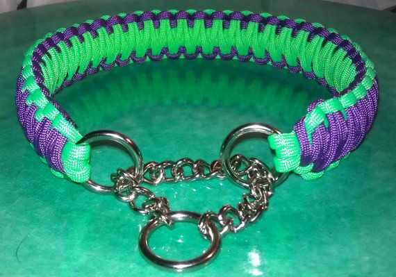 Custom Made King Cobra Paracord and Stainless Steel Martingale Style Dog Collar -Choose 1 or 2 colors. $15.00, via Etsy.