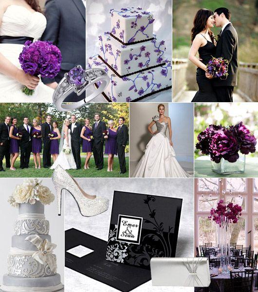 Svart-lila-silver färgtema på bröllop