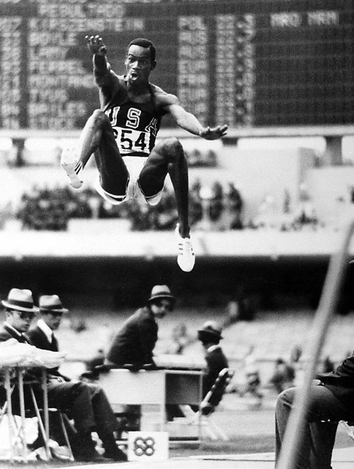 October 18 1968, Bob Beamon set the World & Olympic Records for the Long Jump on his 1st attempt at the Mexico City Olympics (Gold Medal Winning jump 29 ft, 2 1/2 Inches). He broke the record by almost 22 Inches. At an altitude of 2240 m, Mexico City's air had less resistance than air would at sea level. Prior to Mr. Beamon's jump the World Record was broken 13 Times. His record stood for 23 years until Mike Powell broke it in 1991. IT STILL Stands as the Olympic Record (54 yrs later).